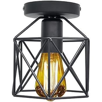 Vintage light fixtures ceiling flush mount industrial antique lighting mini rustic metal wire cage pendant lamp