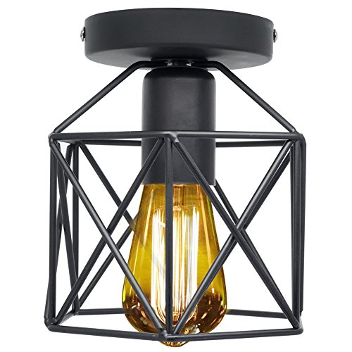 Outdoor Flush Mount Antique - Vintage Light Fixtures Ceiling Flush Mount Industrial Antique Lighting Mini Rustic Metal Wire Cage Pendant Lamp for Hallway