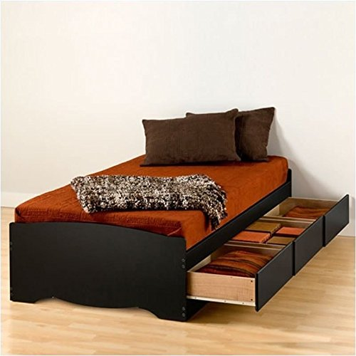 Pemberly Row Black Twin XL Platform Storage Bed with Drawers