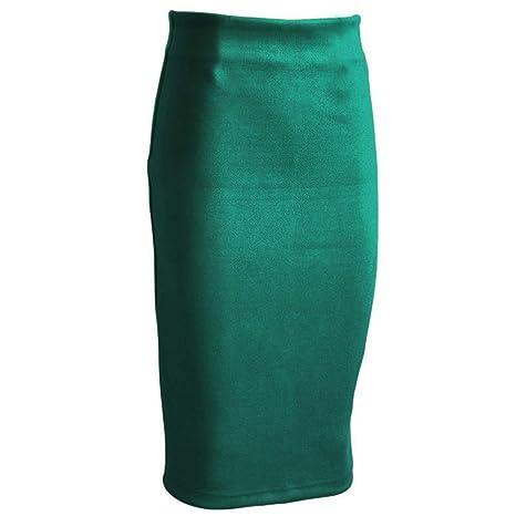 Falda,Las Mujeres De Gamuza Verde Falda De Lápiz De Color Sólido ...
