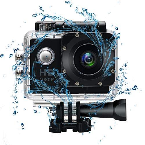 Waterproof Underwater Action Video Cameras for Snorkeling,Sports Action Video Cameras for Motorcycle Helmet/Skiing/Climbing/Diving-30M Waterproof with Mounting Accessories