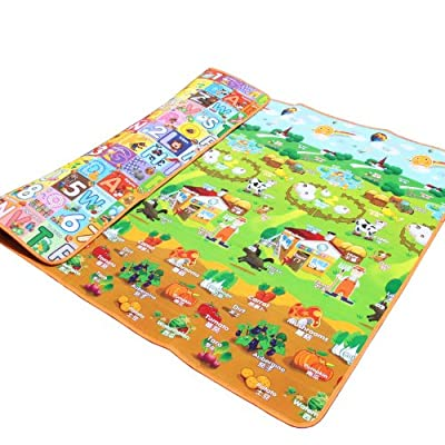 Extra Large Farm Park + Alphanumeric Pattern on Both Sides Eco-friendly Baby Care Crawl Kids Play Mat