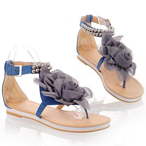 RAZAMAZA Zapatos Mujer Clip Toe Al Tobillo Plano Verano Sandalias De Flor 538 Azul