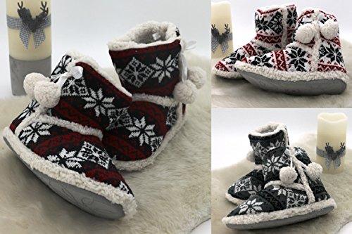 Botas de invierno, estilo Noruego, pelo interior y suela antideslizante, de gran comodidad, elaboradas con pompones & lazo de raso, Typ372, poliéster, gris, blanco, Größe 36 blanco y rojo