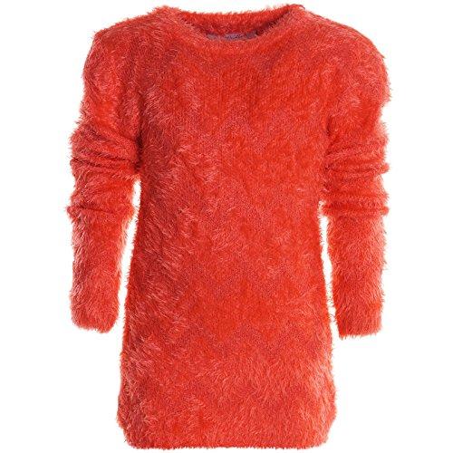 Mädchen Shirt Pullover Langarm Flauschig Strick Sweat Shirt Strick Hoodie 20635, Farbe:Orange;Größe:140