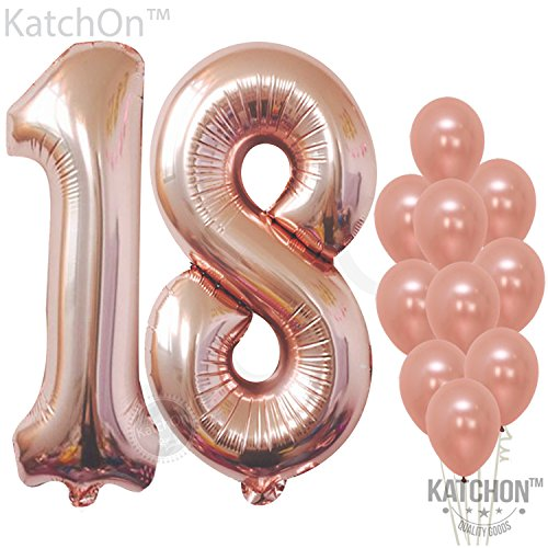Rose Gold Number 18 balloons - foil mylar Rose Gold Balloons Party Decorations rose gold party supplies for Engagement birthday baby shower wedding 32 Foot Balloons String (Birthday Balloons Wedding)