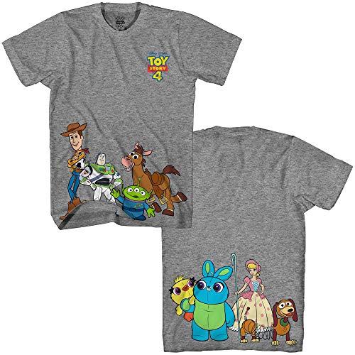 Disney Pixar Toy Story 4 Happy Crew Woody Buzz Bo Peep Movie Disneyland World Tee Funny Humor Men's Graphic T-Shirt (Dark Grey Heather, Large) -