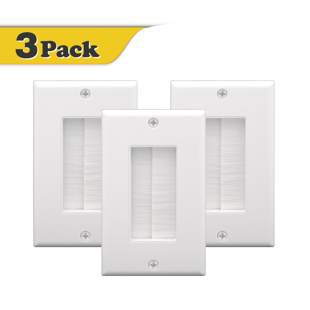 VCE 3-PACK Single Brush Wall Plate - White