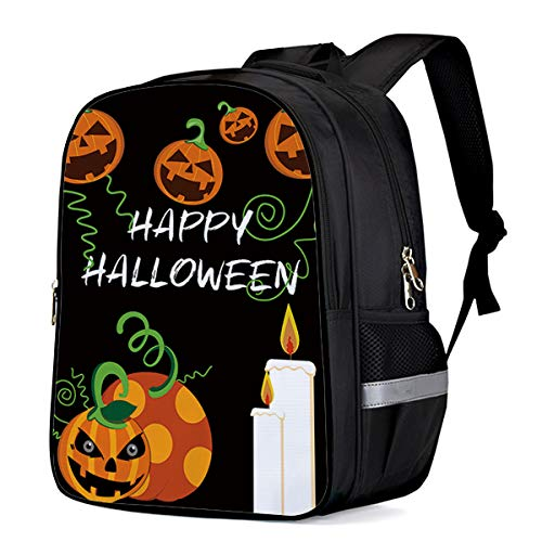 Water Resistant School Backpack, Happy Halloween Pumpkin Candle Oxford 3D Print College Student Rucksack Daypack for School Camping Travel 33x28x16cm ()