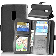 OnePlus Two Case,Abtory OnePlus 2 Wallet,PU Leather Magnet Folio Wallet Flip Cover Case Built-in 9 Card Slots & Stand Case for OnePlus Two / OnePlus 2 Black