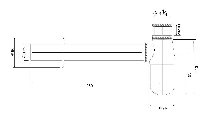 in materiale plastico Sifone 1014 per lavabo con connessione 1 1//4
