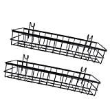 B Blesiya 2pcs Vintage Wall Mount Storage Tray/Basket, Grid Panel Hanging Tray Set