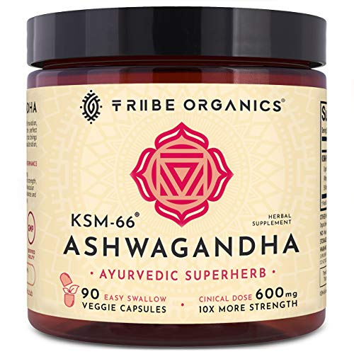 KSM-66 Ashwagandha Organic Pure Root Extract - NO Chemicals - 90 Easy Swallow Veggie Capsules - Highest Efficacy 5% Withanolides - Stress and Anxiety Relief, Cortisol Manager, Adrenal Thyroid Support