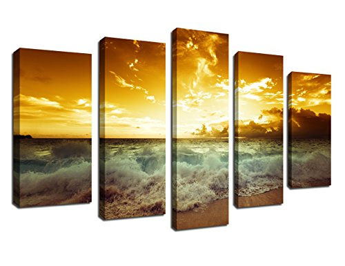 arteWOODS Canvas Wall Art Ocean Waves Beach Sunset Painting Prints, Large Canvas Artwork 5 Pieces Seascape Contemporary Pictures for Home Decoration Wall Decor Framed Ready to Hang ()