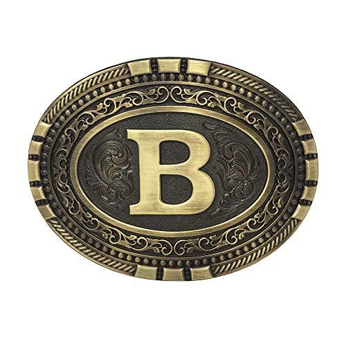 Exos Oval Western Brass Cast Filigree Rope Border Initial Belt Buckle (B) - Oval Shaped Belt Buckle