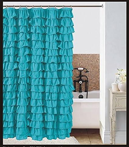 Waterfall Turqoise Ruffled Shower Curtain