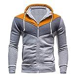 Spbamboo Mens Sweatshirt Hoodie Casual Zipper Long Sleeve Splicing Coat Tops