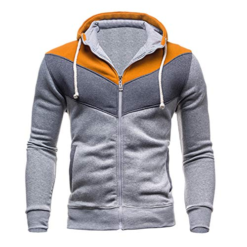 Clearance Sale for Men Coat.AIMTOPPY Men's Stitching Multi-Color Zipper with Hood Casual Sweater -