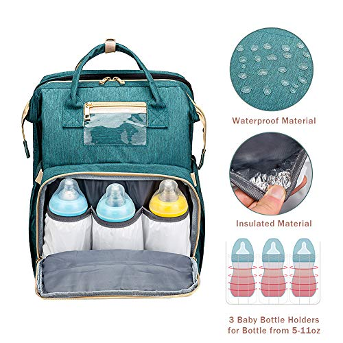 51DcfnwAOjL - Cosy Casa Baby Travel Diaper Bag Backpack With Bassinet Changing Mat Changing Station,Folding Crib Bag Foldable Mommy Bag For Baby Girl Boy Infant Mom Diaper-Bag-Backpack-Baby-Travel(Green)