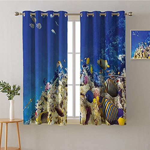 ScottDecor Curtain Living Room Grommets Soft Darkening Curtains Party Darkening Curtains Noise Isolation Darkening Curtains Room/Bedroom(1 Pair, 27.5