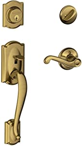 Schlage Lock Company Camelot Single Cylinder Handleset and Right Hand Flair Lever, Antique Brass (F60 CAM 609 FLA RH)