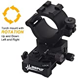 """Windage Elevation Adjustable Picatinny Weaver Rail Mount and Barrel clamp Adaptor hold with 1"""" inch 30mm Ring for Weapon Rifle Gun Tactical Laser LED Flashlight Light Illuminator Scope Optic Torch"""