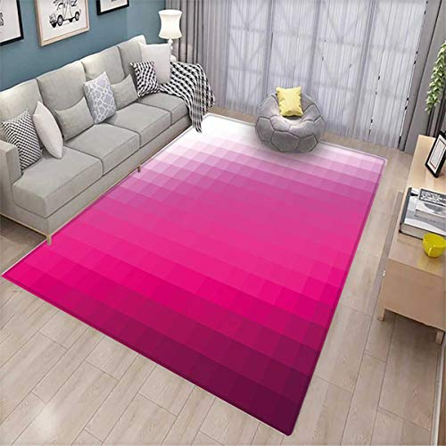 Hot Pink Door Mats for Inside Modern Art Mosaic Tiles Gradually Color Changing Squares Image Bath Mat for tub Bathroom Mat Hot Pink Dark Purple White