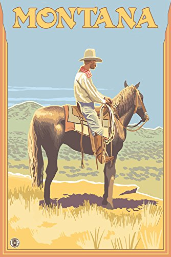 Cowboy on Horseback - Montana (16x24 Giclee Gallery Print, Wall Decor Travel Poster) ()