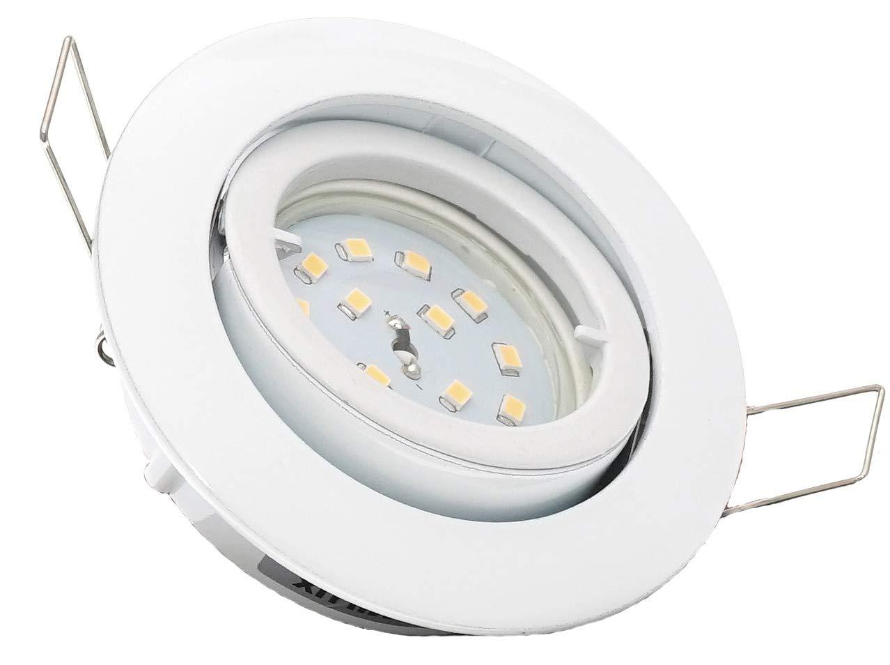 4er Set dimmbare Einbaustrahler Lino  flach Farbe Weiss inkl. 230Volt   5 Watt SMD Leuchtmittel dimmbar - entspricht einer 50 Watt Leuchte Lichtfarbe neutraltweiß sehr FLACH 30mm einbautiefe.