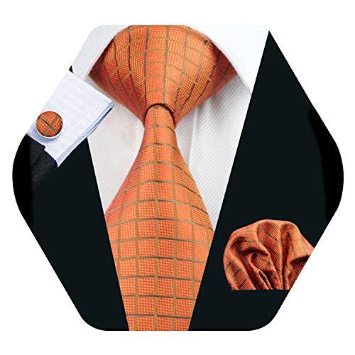 Mens Orange Check Tie Set Silk Necktie Hanky Cufflinks Set Wedding Party Tie