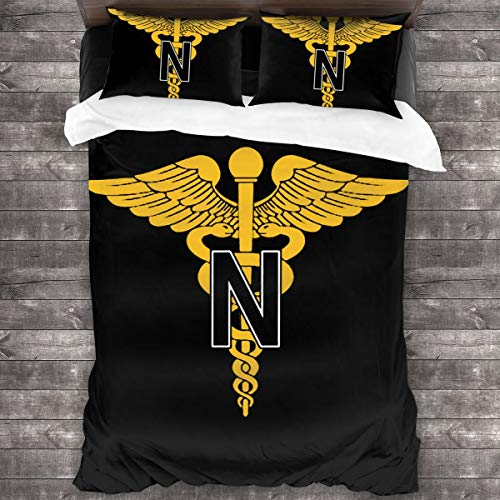 "MAOYIHO Polo Magnet United States Army Nurse Corps Insignia 3-Piece Bedding Set 86""x70"" One Side Printing 100% Microfiber Fabrics"
