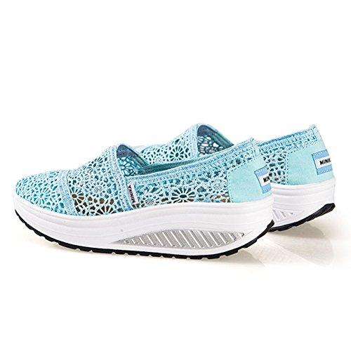 Btrada Mujeres Waking Sneakers Slip On Encaje Hueco Con Thict Base Suelta Zapatos De Lona Por Azul