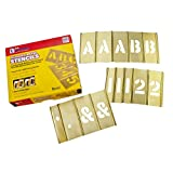 CH Hanson 2 in Brass Interlocking Stencils Letters and Numbers 92 Piece Set