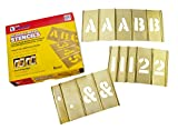 CH Hanson 3 in Brass Interlocking Stencils Letters and Numbers 92 Piece Set