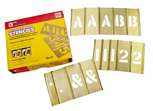 CH Hanson 4 in Brass Interlocking Stencils Letters and Numbers 92 Piece Set by CH Hanson