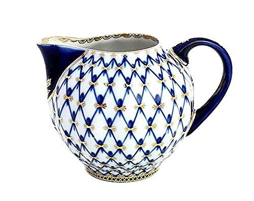 Lomonosov Porcelain Cobalt Net Creamer 22 Karat - Porcelain Creamer Lomonosov