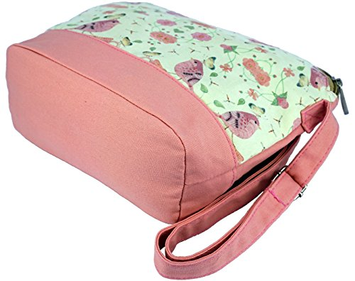 Girls for Shoulder Teenagers Canvas Pink Bag Crest Sparrows Cross Design body Whimsical and qUgwO8w0X