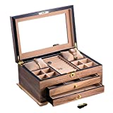 Time Factory AJ-BB670BRW Lacquered Wood 3 Level Jewelry Box with Gold Accents and Locking Lid, Walnut