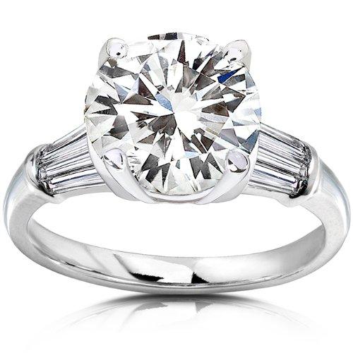 Round Moissanite Engagement Ring with Diamond 3 3/4 CTW 14k White Gold Size 75 White Gold