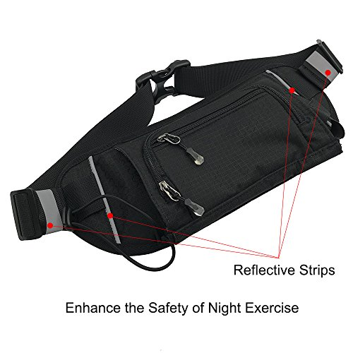 Sport Waist Bag Fanny Pack Black Waterproof, with Water Bottle Holder, for Men Women Running Hiking Cycling Climbing by JINGHAO (Image #5)
