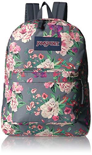 JanSport Superbreak Backpack - Lightweight School Pack, Grey Bouquet