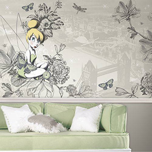 RoomMates Disney Fairies - Vintage Tinkbell  Removable Wall Mural - 10.5 feet X 6 feet ()
