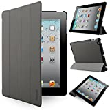 iPad 4/3/ 2 Case Cover - iHarbort Ultra Slim Lightweight Smart Cover Holder Stand Leather Case for Apple iPad 2 iPad 3 iPad 4 (not 2017 Version) with Smart Auto Wake/Sleep (Gray)