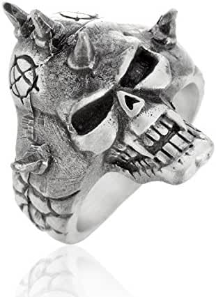 Dan's Jewelers Anarchy Punk Gothic Skull Ring Band Spike, Fine Pewter Jewelry