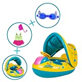 Babies Inflatable Swimming Pool Boat / Fish Float Add Little Girls swimming glasses Add Little( Girls) Ruffle Swimsuit Add Swimming cap four big pack By BaiNue