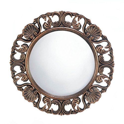 (lunanice Vintage Heirloom Style Ornate Round Wooden Wall Mirror Antique Finish)