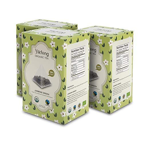 (Yikfong Organic Tea Jasmine Green, 60 Tea Bags( 20 Bags Per Box), Classic Green Tea Scented with Real Organic Jasmine Blossoms in Triangle Filter Tea Bag)