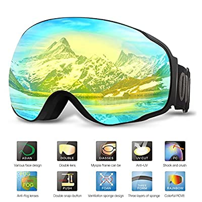 Ski Goggles PRO- OUTAD Snow Goggles OTG DESIGN Frameless, Interchangeable Lens 100% UV400 Protection Anti-fog Double Lens for Skiing,Skating,Snowmobile,Snowboarding Winter Sports