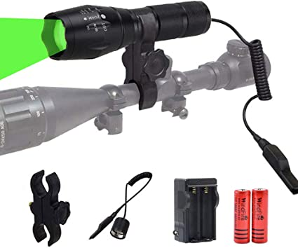Tactical Night Green LED Flashlight Lamp Hunting Torch w//Scope Mount /& Dot Sight