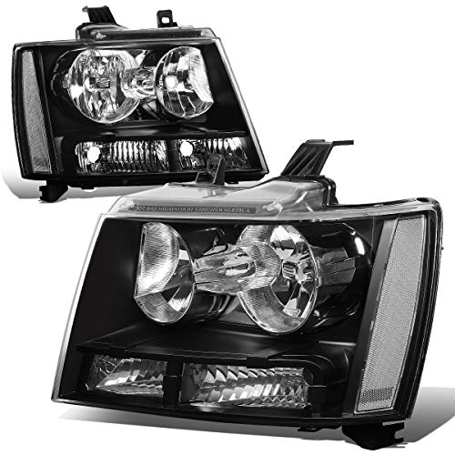 For Chevy Tahoe/Suburban/Avalanche 1500 2500 Pair of Black Housing Clear Corner Headlight (09 Avalanche Headlights)